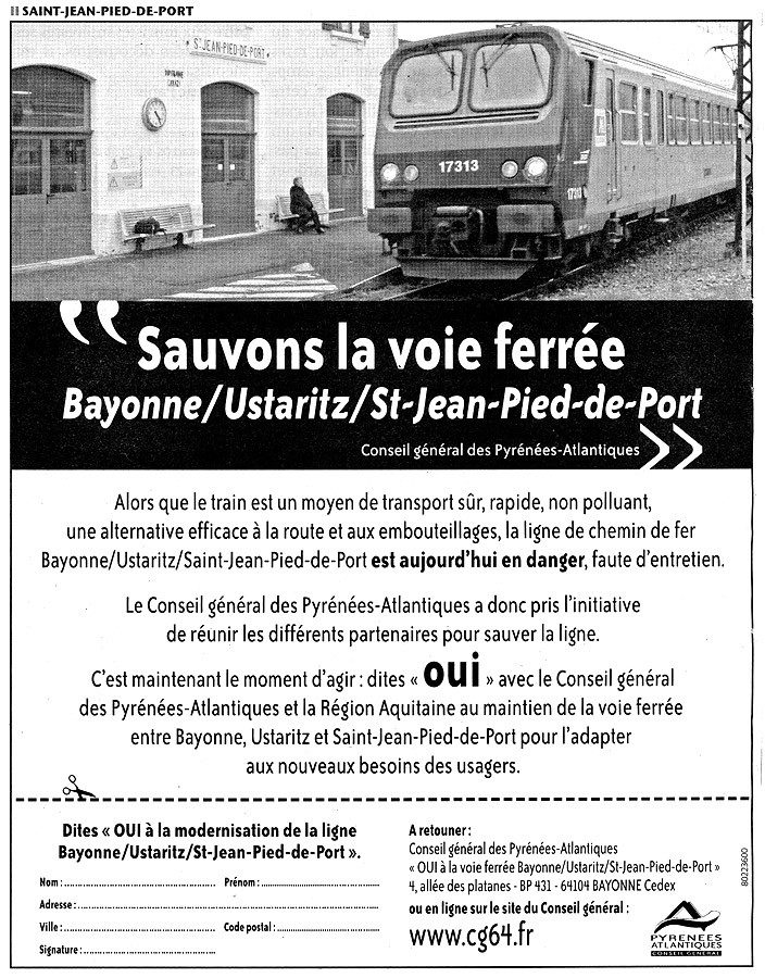 Il faut sauver bayonne saint jean pied de port - Train from bayonne to st jean pied de port ...