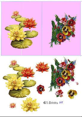 Planche de motifs a imprimer pour cartes 3D Fleurs10