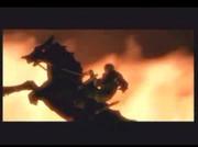Comme d'habitude, Ganondorf sur son cheval avec des flammes derrière