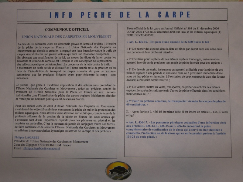 Info loi pêche à la carpe: Loi anti-traffic de carpe 100_0813