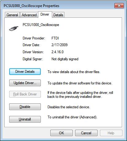 PCSU1000 running on Windows 7 x64 - PC Oscilloscopes and