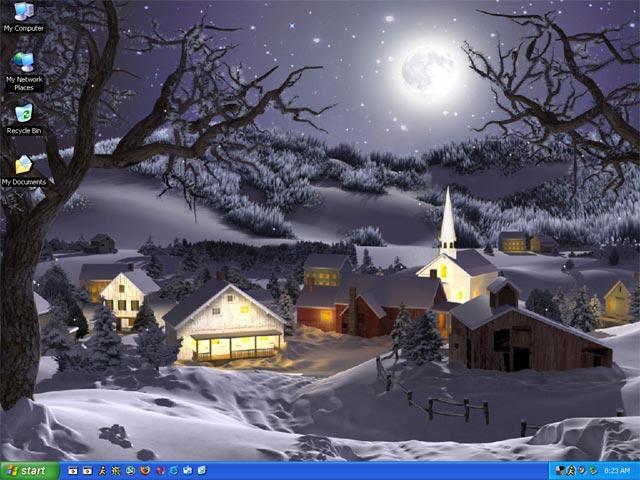 3d moving desktop wallpaper. Winter scene nature animated
