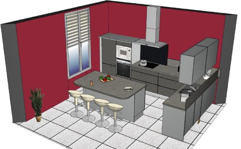 Conseils sens pose carrelage cuisine peinture murs for Peinture rouge pour cuisine
